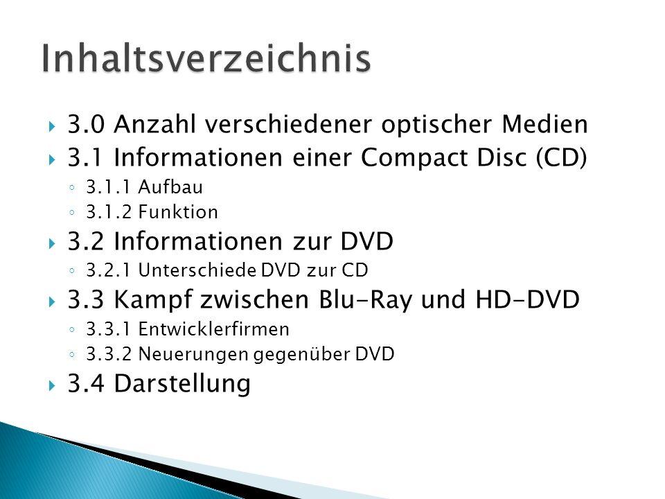 3.0 Anzahl verschiedener optischer Medien 3.1 Informationen einer Compact Disc (CD) 3.1.1 Aufbau 3.1.2 Funktion 3.2 Informationen zur DVD 3.2.1 Unters