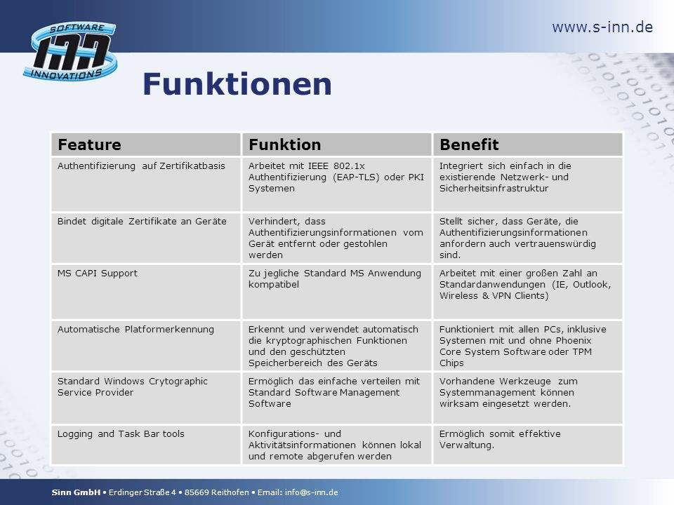 www.s-inn.de Sinn GmbH Erdinger Straße 4 85669 Reithofen Email: info@s-inn.de Funktionen FeatureFunktionBenefit Authentifizierung auf ZertifikatbasisArbeitet mit IEEE 802.1x Authentifizierung (EAP-TLS) oder PKI Systemen Integriert sich einfach in die existierende Netzwerk- und Sicherheitsinfrastruktur Bindet digitale Zertifikate an GeräteVerhindert, dass Authentifizierungsinformationen vom Gerät entfernt oder gestohlen werden Stellt sicher, dass Geräte, die Authentifizierungsinformationen anfordern auch vertrauenswürdig sind.