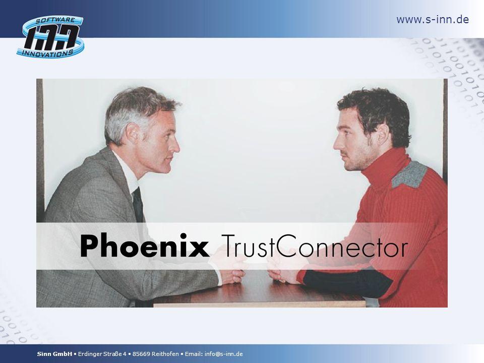 www.s-inn.de Sinn GmbH Erdinger Straße 4 85669 Reithofen Email: info@s-inn.de TrustConnector in Action cME StrongClient User Access Entry Point Device Key TrustConnector schützt die privaten Schlüssel, indem sie mit Hilfe der Gerätekennung verschlüsselt werden.