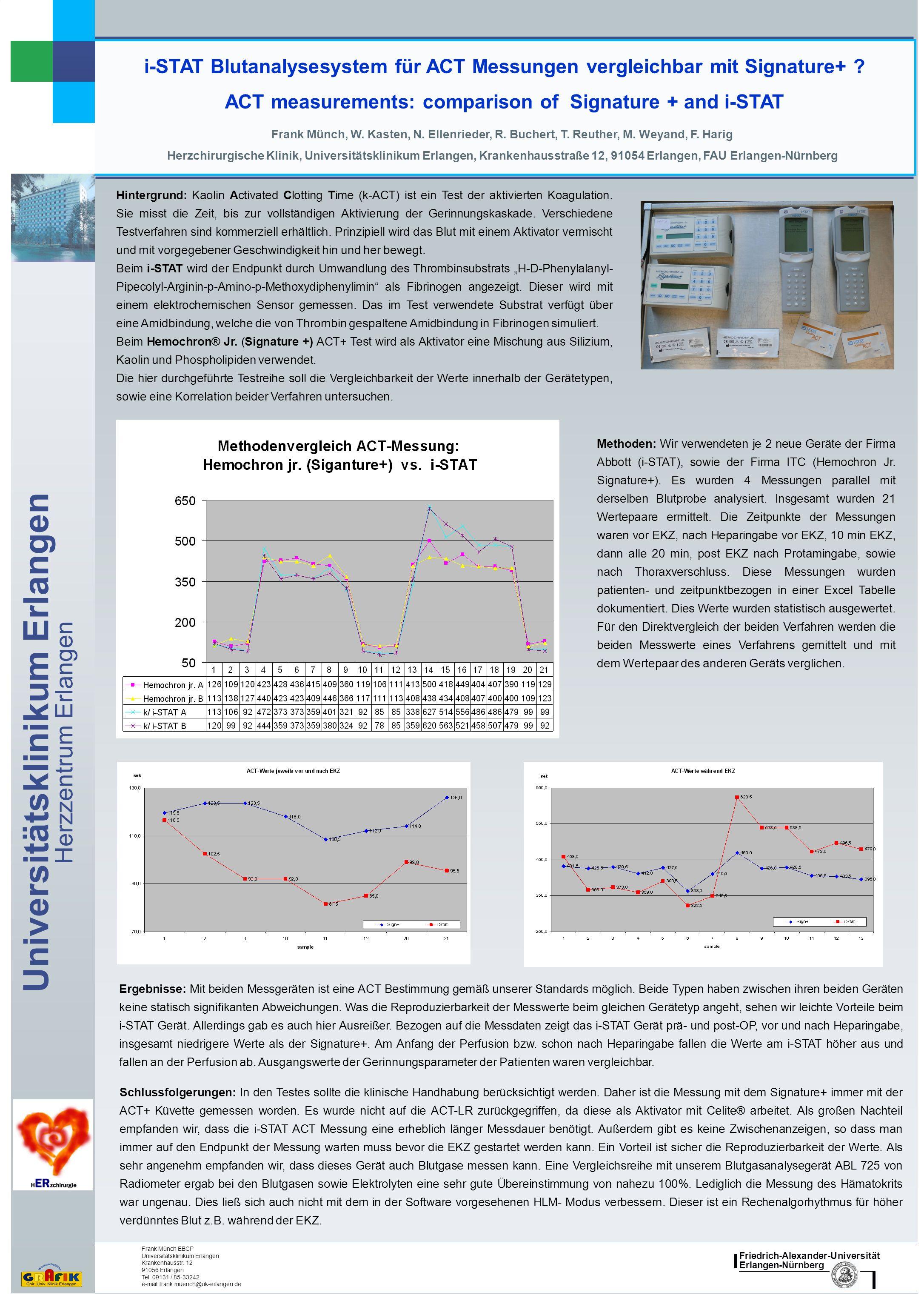 Friedrich-Alexander-Universität Erlangen-Nürnberg Universitätsklinikum Erlangen Herzzentrum Erlangen i-STAT Blutanalysesystem für ACT Messungen vergleichbar mit Signature+ .