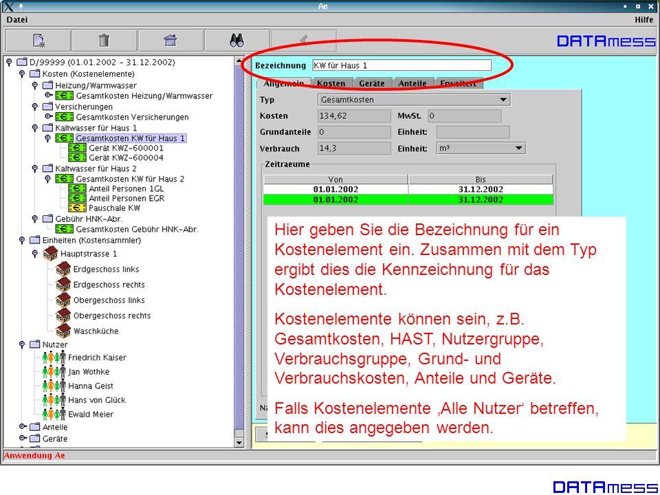 Für jedes Kostenelement können mehrere Betriebszeiten angegeben werden (weiss), die die Verteilung der Kosten auf diesen Zeitraum einschränken (grün), evtl.