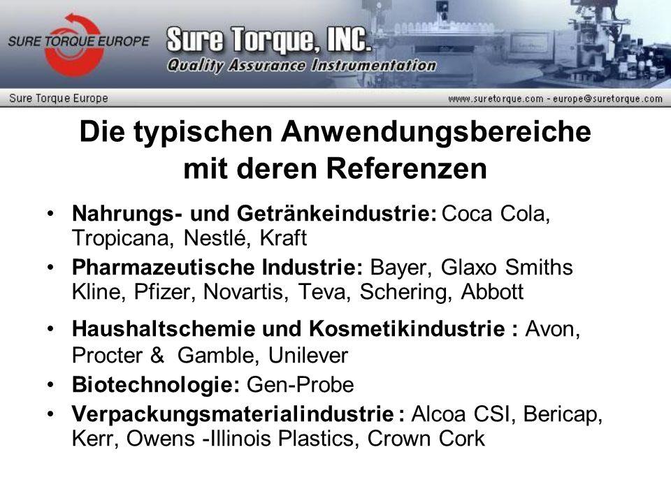 Die typischen Anwendungsbereiche mit deren Referenzen Nahrungs- und Getränkeindustrie: Coca Cola, Tropicana, Nestlé, Kraft Pharmazeutische Industrie: