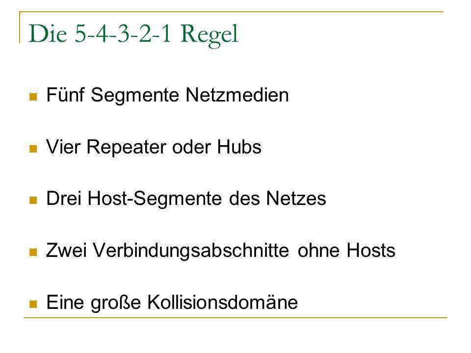 Die 5-4-3-2-1 Regel Fünf Segmente Netzmedien Vier Repeater oder Hubs Drei Host-Segmente des Netzes Zwei Verbindungsabschnitte ohne Hosts Eine große Kollisionsdomäne