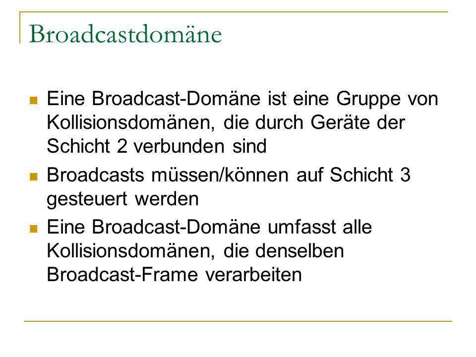 Broadcastdomäne Eine Broadcast-Domäne ist eine Gruppe von Kollisionsdomänen, die durch Geräte der Schicht 2 verbunden sind Broadcasts müssen/können auf Schicht 3 gesteuert werden Eine Broadcast-Domäne umfasst alle Kollisionsdomänen, die denselben Broadcast-Frame verarbeiten
