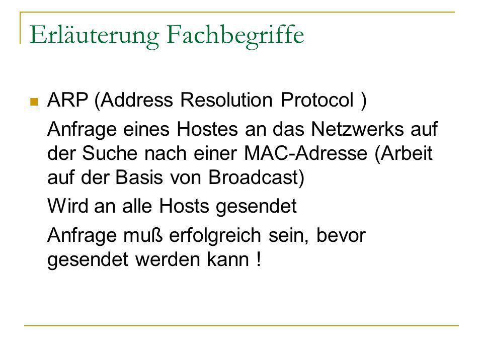 Erläuterung Fachbegriffe ARP (Address Resolution Protocol ) Anfrage eines Hostes an das Netzwerks auf der Suche nach einer MAC-Adresse (Arbeit auf der Basis von Broadcast) Wird an alle Hosts gesendet Anfrage muß erfolgreich sein, bevor gesendet werden kann !