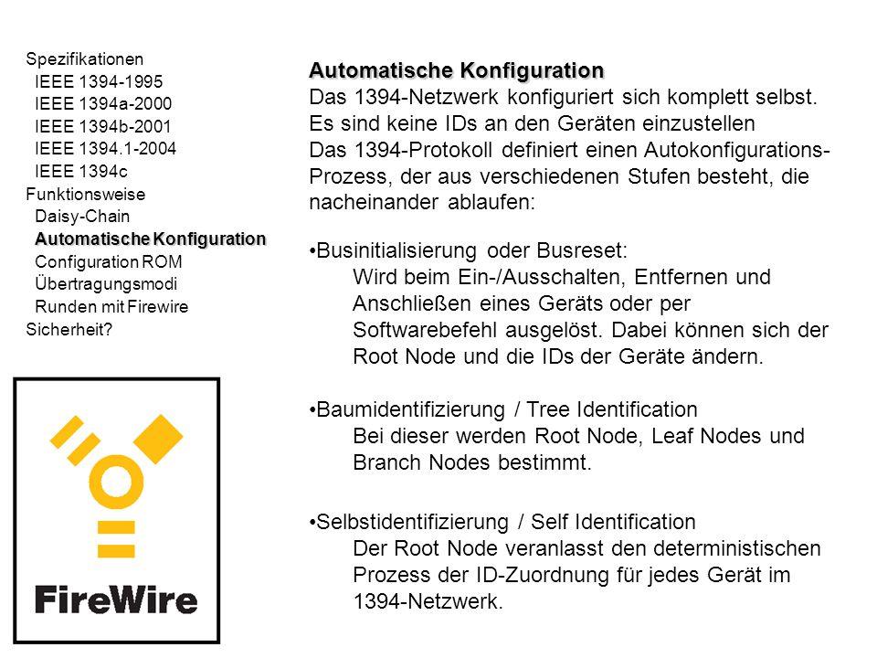Spezifikationen IEEE 1394-1995 IEEE 1394a-2000 IEEE 1394b-2001 IEEE 1394.1-2004 IEEE 1394c Funktionsweise Daisy-Chain Automatische Konfiguration Configuration ROM Übertragungsmodi Runden mit Firewire Sicherheit.