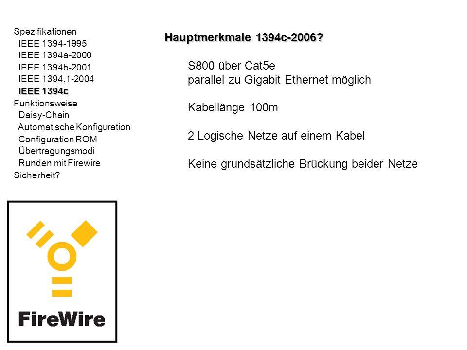 Spezifikationen IEEE 1394-1995 IEEE 1394a-2000 IEEE 1394b-2001 IEEE 1394.1-2004 IEEE 1394c Funktionsweise Daisy-Chain Daisy-Chain Automatische Konfiguration Configuration ROM Übertragungsmodi Runden mit Firewire Sicherheit?Daisy-Chain