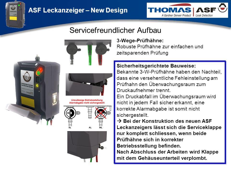 ASF Leckanzeiger – New Design Präsentation neuer LAG Newsletter.ppt 5 Servicefreundlicher Aufbau Sicherheitsgerichtete Bauweise: Bekannte 3-W-Prüfhähn