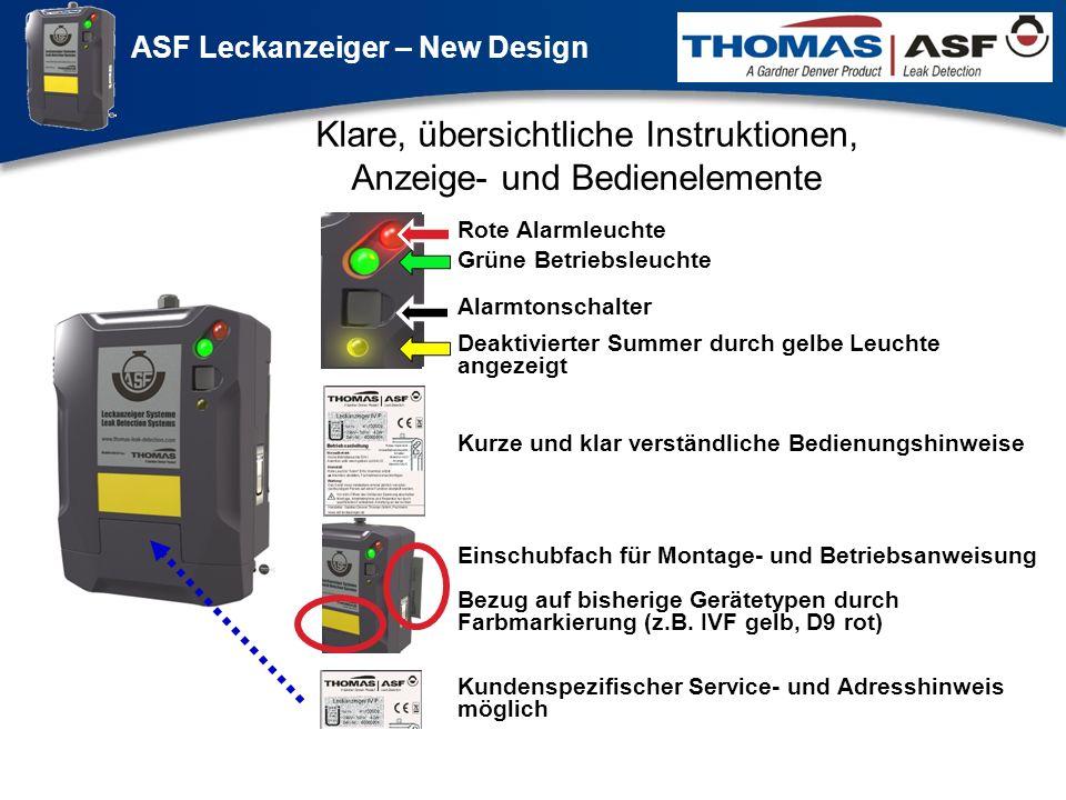 ASF Leckanzeiger – New Design Präsentation neuer LAG Newsletter.ppt 6 Klare, übersichtliche Instruktionen, Anzeige- und Bedienelemente Grüne Betriebsl