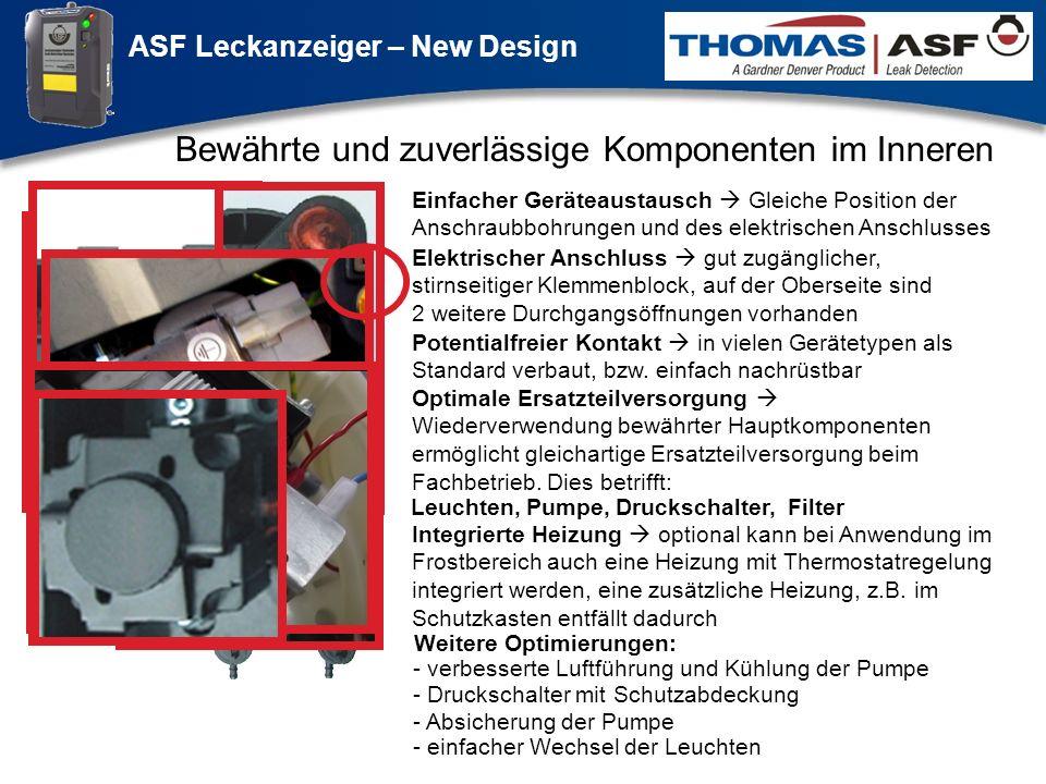 ASF Leckanzeiger – New Design Präsentation neuer LAG Newsletter.ppt 7 Bewährte und zuverlässige Komponenten im Inneren Einfacher Geräteaustausch Gleic