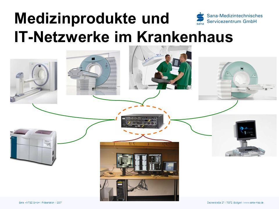 Sana –MTSZ GmbH I Präsentation I 2007 Deckerstraße 27 I 70372 Stuttgart I www.sana-mtsz.de Medizinprodukte und IT-Netzwerke im Krankenhaus