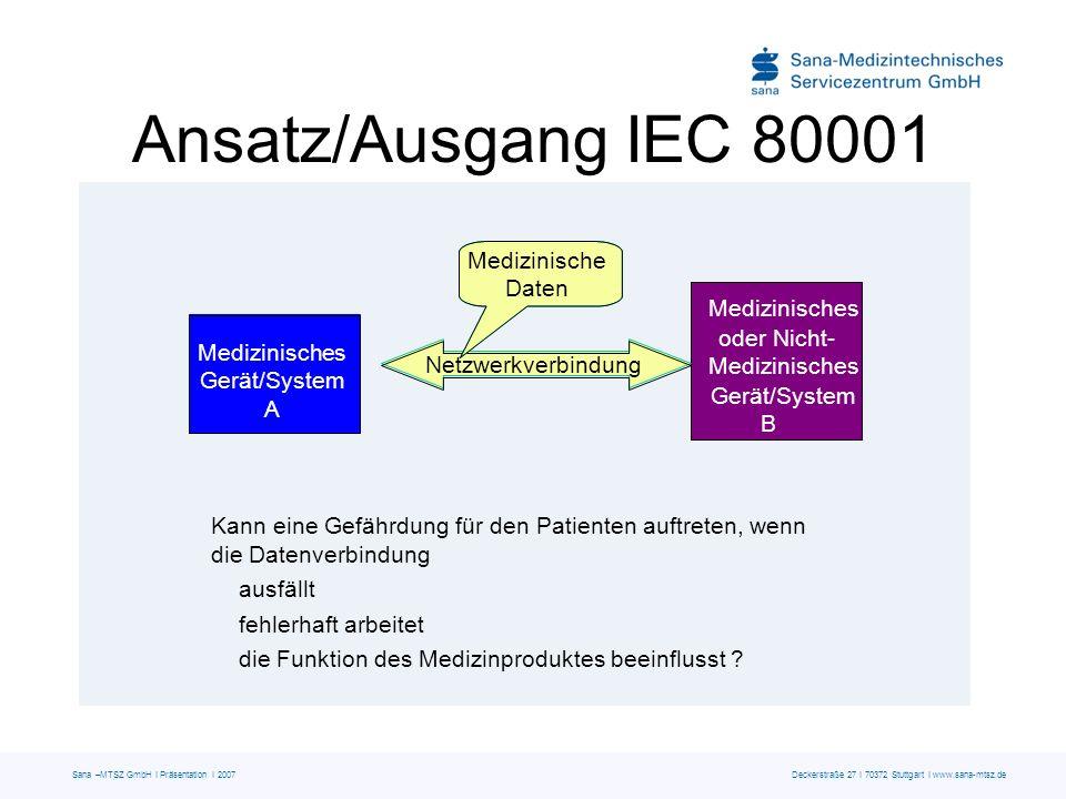 Sana –MTSZ GmbH I Präsentation I 2007 Deckerstraße 27 I 70372 Stuttgart I www.sana-mtsz.de Kann eine Gefährdung für den Patienten auftreten, wenn die