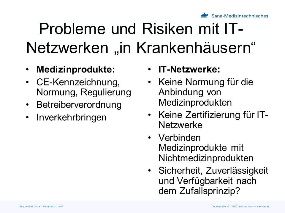 Sana –MTSZ GmbH I Präsentation I 2007 Deckerstraße 27 I 70372 Stuttgart I www.sana-mtsz.de Probleme und Risiken mit IT- Netzwerken in Krankenhäusern M