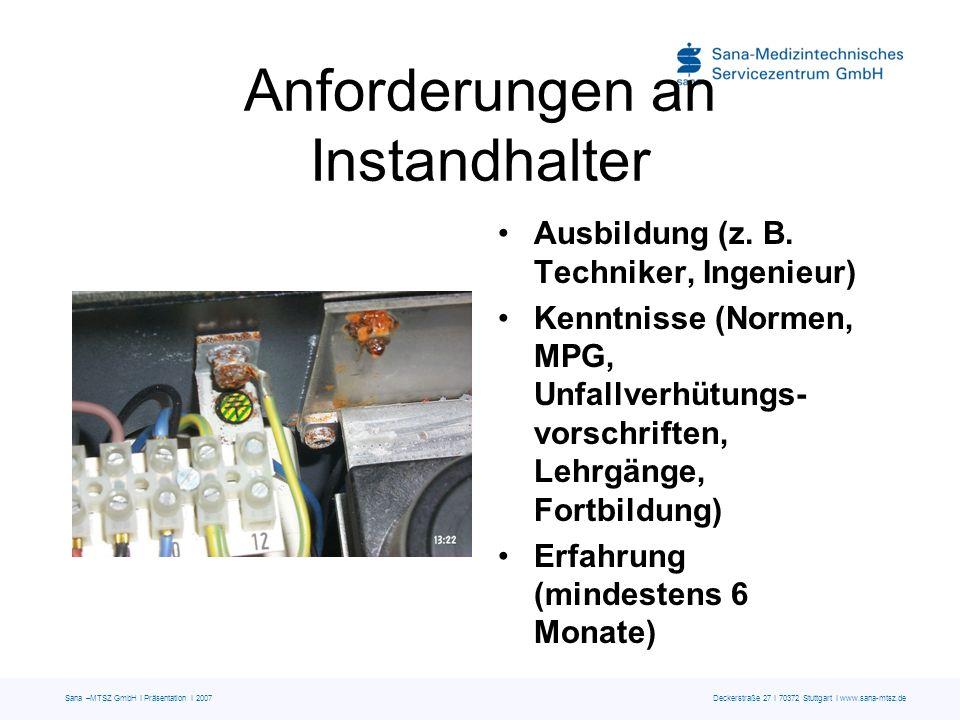 Sana –MTSZ GmbH I Präsentation I 2007 Deckerstraße 27 I 70372 Stuttgart I www.sana-mtsz.de Anforderungen an Instandhalter Ausbildung (z. B. Techniker,
