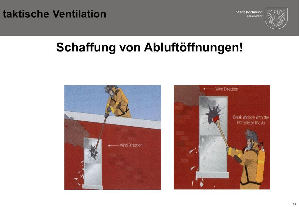 14 Schaffung von Abluftöffnungen! taktische Ventilation