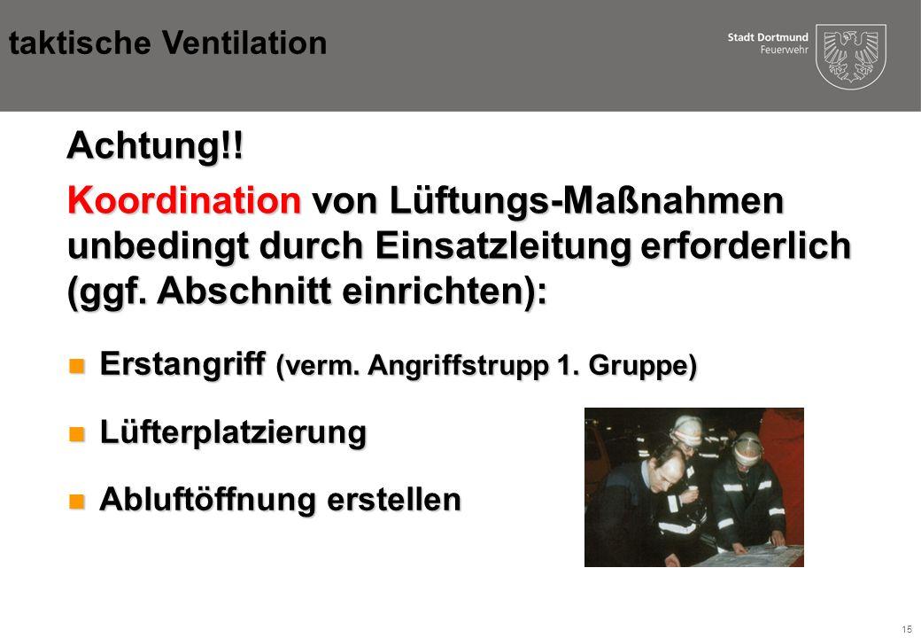 15 Achtung!.Koordination von Lüftungs-Maßnahmen unbedingt durch Einsatzleitung erforderlich (ggf.
