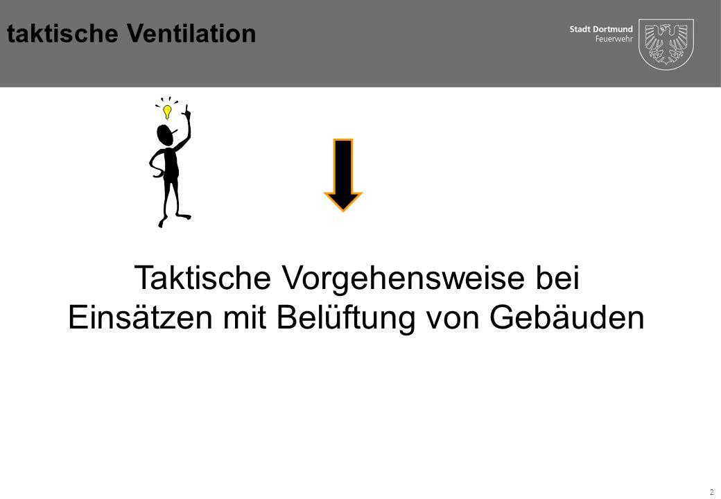 13 Hydraulische Ventilation: Vorteile: n Der vorgehende Trupp kann selbst belüften und ist nicht auf zusätzliche Geräte angewiesen Nachteile: n Hoher Wasserverbrauch n Personal ist gebunden Injektorwirkung 0,5 m taktische Ventilation
