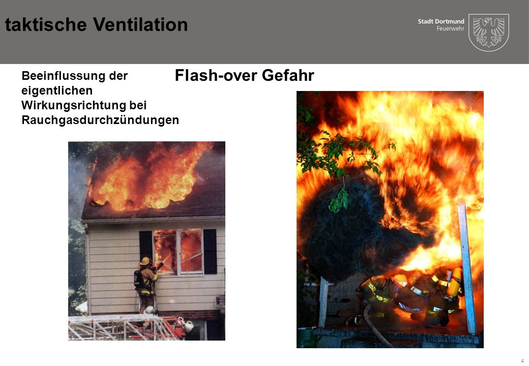 5 Ziel der Belüftung: 1.Sicherstellen von Rettungs- und Angriffswege im Gebäude: 1.Räumung des Gebäudes 2.Personensuche 3.Schnelleres greifen von Einsatzmaßnahmen 2.Gefahrminimierung (Wärme, Flash-over) 3.Vermeiden von Sekundärschäden taktische Ventilation