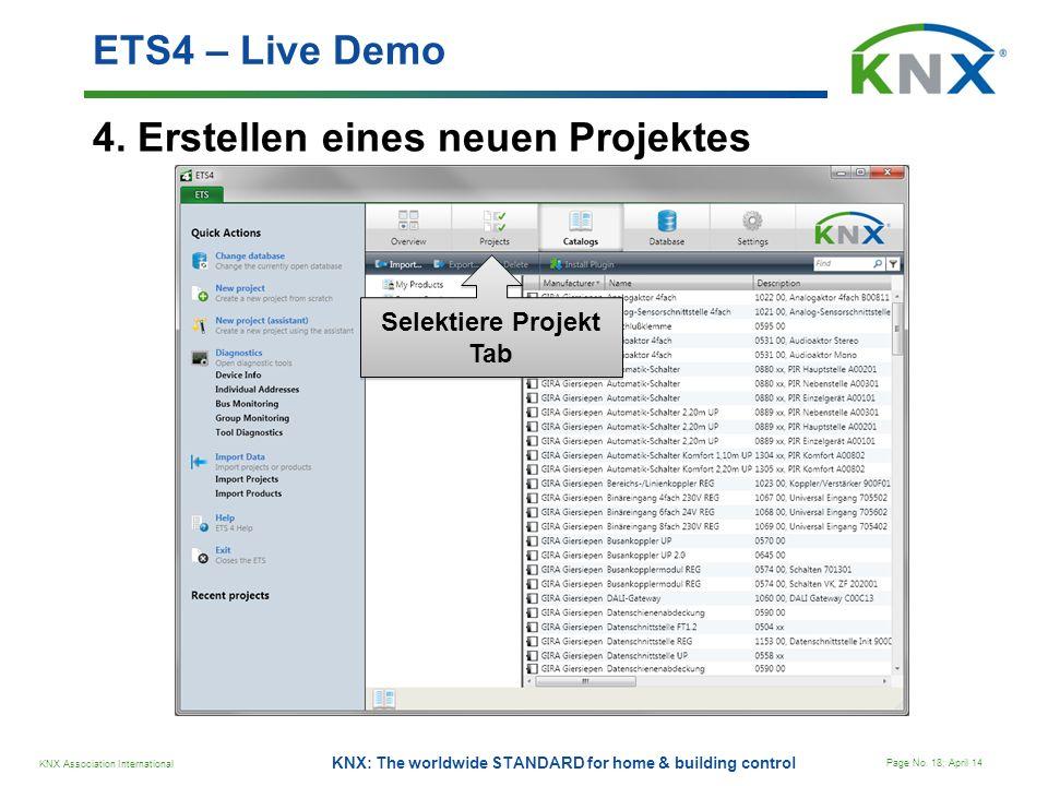 KNX Association International Page No. 18; April 14 KNX: The worldwide STANDARD for home & building control 4. Erstellen eines neuen Projektes ETS4 –