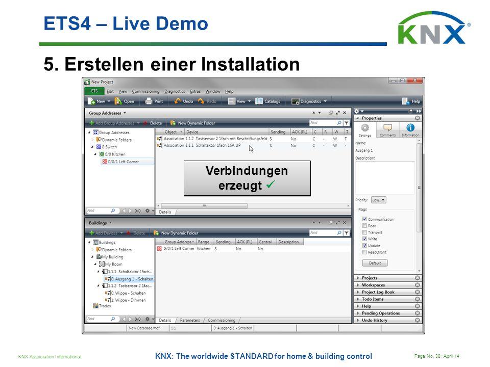 KNX Association International Page No. 38; April 14 KNX: The worldwide STANDARD for home & building control 5. Erstellen einer Installation ETS4 – Liv