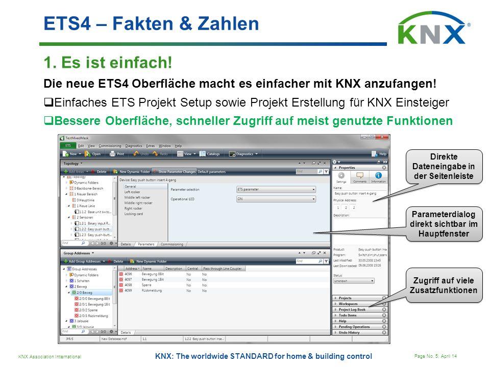 KNX Association International Page No. 5; April 14 KNX: The worldwide STANDARD for home & building control ETS4 – Fakten & Zahlen 1. Es ist einfach! D
