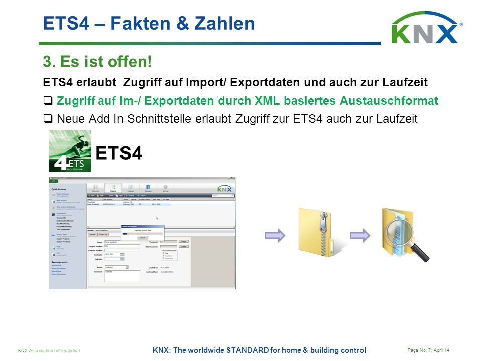 KNX Association International Page No. 7; April 14 KNX: The worldwide STANDARD for home & building control ETS4 – Fakten & Zahlen 3. Es ist offen! ETS
