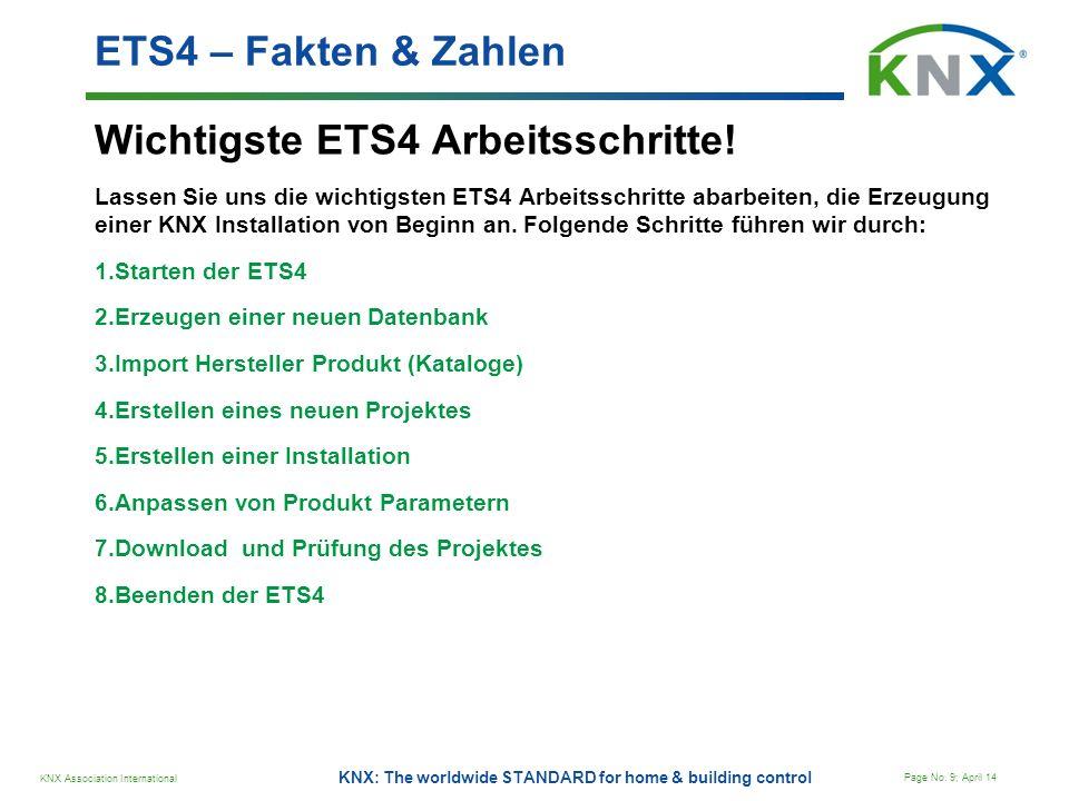 KNX Association International Page No. 9; April 14 KNX: The worldwide STANDARD for home & building control Wichtigste ETS4 Arbeitsschritte! Lassen Sie