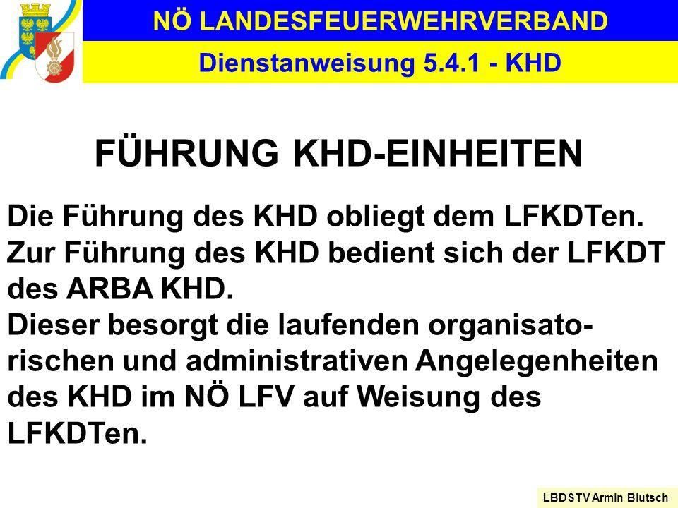 NÖ LANDESFEUERWEHRVERBAND LBDSTV Armin Blutsch Dienstanweisung 5.4.1 - KHD FÜHRUNG KHD-EINHEITEN Die Führung des KHD obliegt dem LFKDTen. Zur Führung