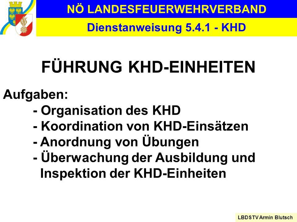 NÖ LANDESFEUERWEHRVERBAND LBDSTV Armin Blutsch Dienstanweisung 5.4.1 - KHD FÜHRUNG KHD-EINHEITEN Aufgaben: - Organisation des KHD - Koordination von K