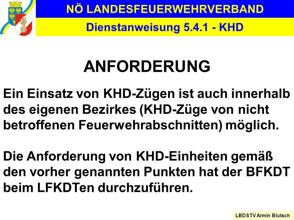 NÖ LANDESFEUERWEHRVERBAND LBDSTV Armin Blutsch Dienstanweisung 5.4.1 - KHD ANFORDERUNG Ein Einsatz von KHD-Zügen ist auch innerhalb des eigenen Bezirk