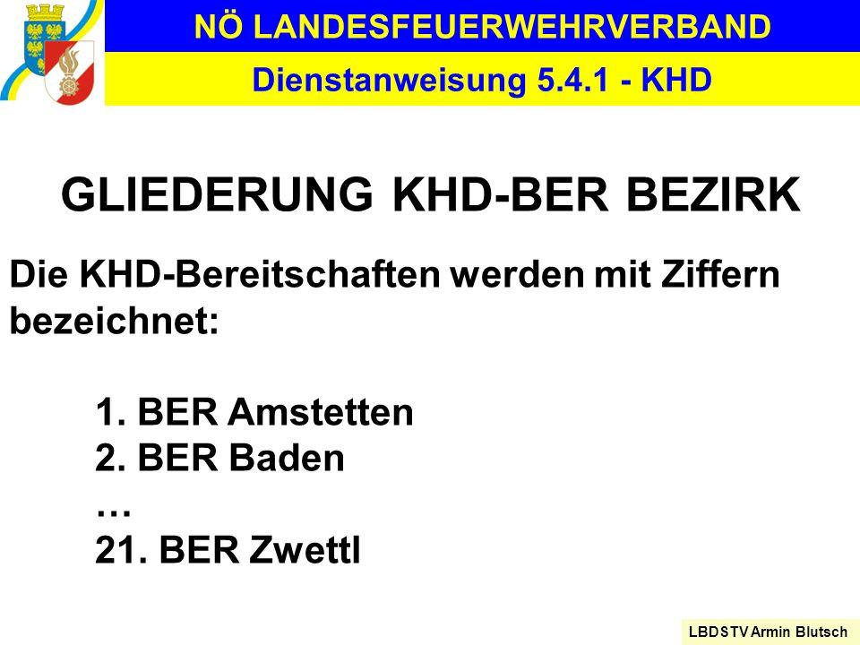 NÖ LANDESFEUERWEHRVERBAND LBDSTV Armin Blutsch Dienstanweisung 5.4.1 - KHD GLIEDERUNG KHD-BER BEZIRK Die KHD-Bereitschaften werden mit Ziffern bezeich