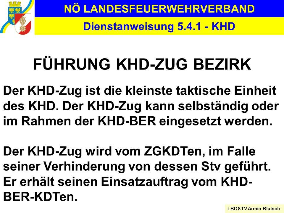 NÖ LANDESFEUERWEHRVERBAND LBDSTV Armin Blutsch Dienstanweisung 5.4.1 - KHD FÜHRUNG KHD-ZUG BEZIRK Der KHD-Zug ist die kleinste taktische Einheit des K