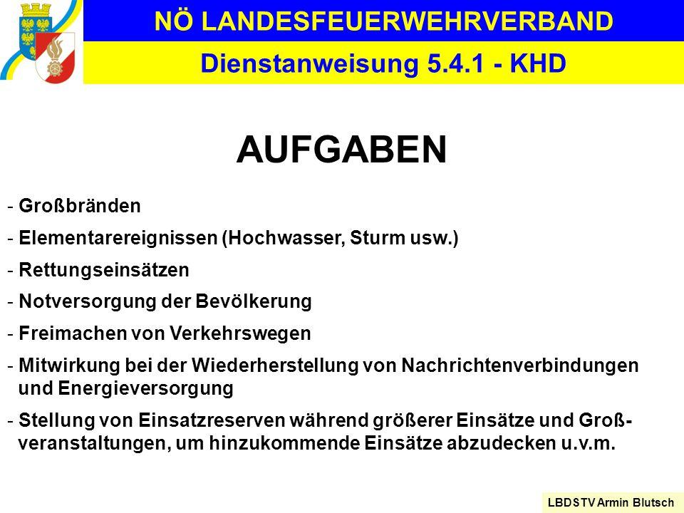 NÖ LANDESFEUERWEHRVERBAND LBDSTV Armin Blutsch Dienstanweisung 5.4.1 - KHD AUFGABEN - Großbränden - Elementarereignissen (Hochwasser, Sturm usw.) - Re