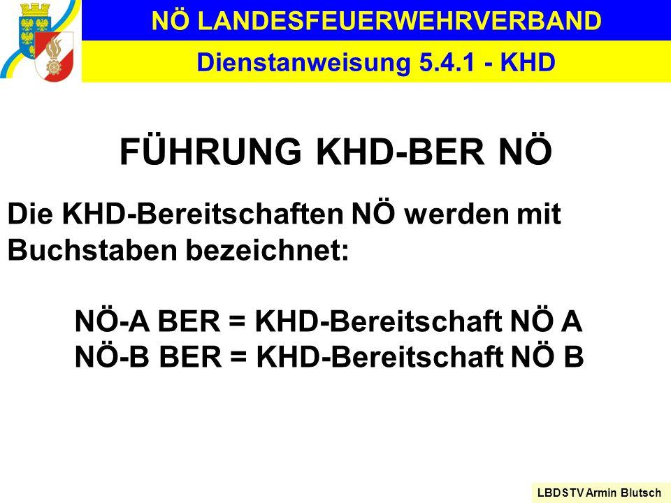 NÖ LANDESFEUERWEHRVERBAND LBDSTV Armin Blutsch Dienstanweisung 5.4.1 - KHD FÜHRUNG KHD-BER NÖ Die KHD-Bereitschaften NÖ werden mit Buchstaben bezeichn