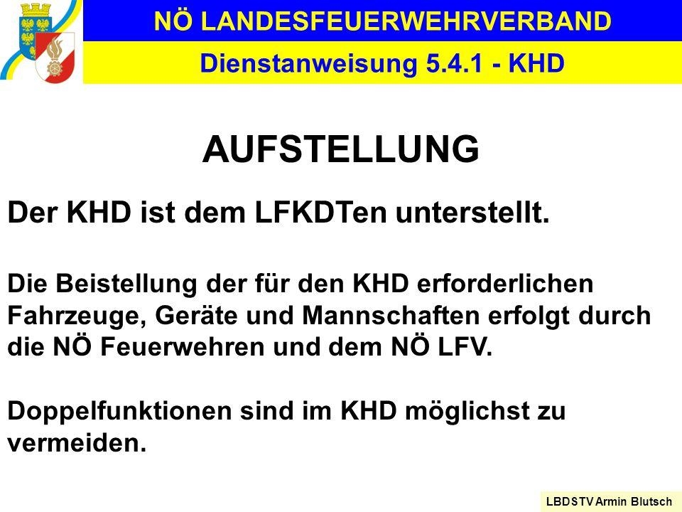 NÖ LANDESFEUERWEHRVERBAND LBDSTV Armin Blutsch Dienstanweisung 5.4.1 - KHD AUFSTELLUNG Der KHD ist dem LFKDTen unterstellt. Die Beistellung der für de