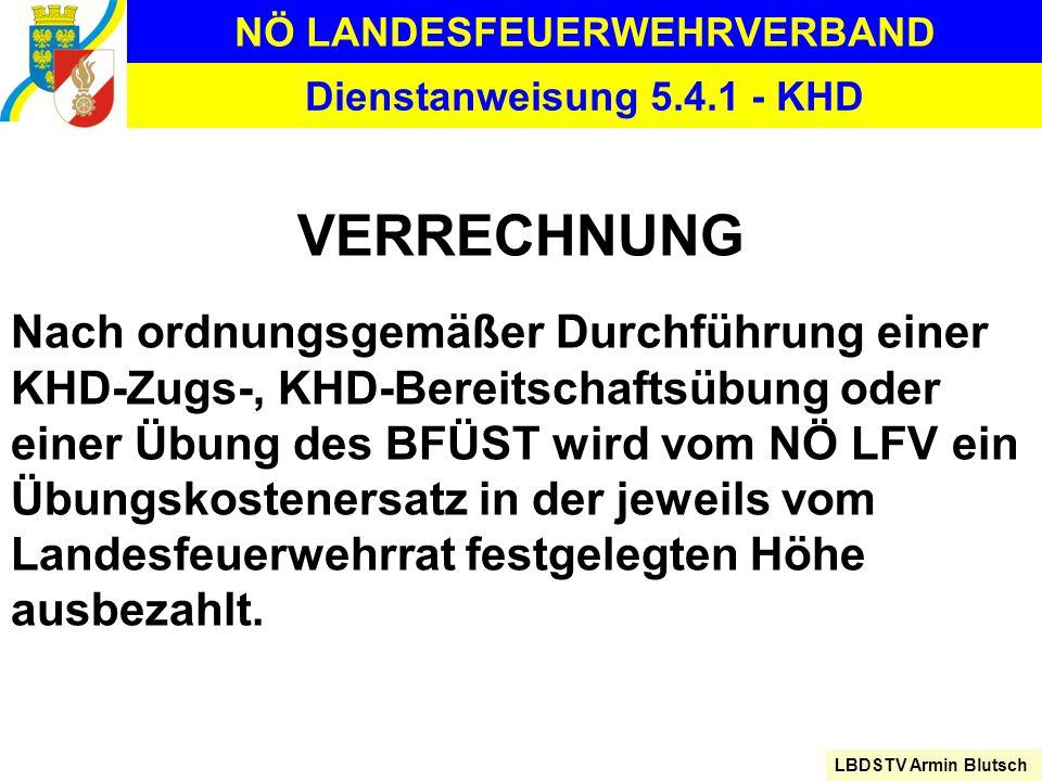 NÖ LANDESFEUERWEHRVERBAND LBDSTV Armin Blutsch Dienstanweisung 5.4.1 - KHD VERRECHNUNG Nach ordnungsgemäßer Durchführung einer KHD-Zugs-, KHD-Bereitsc