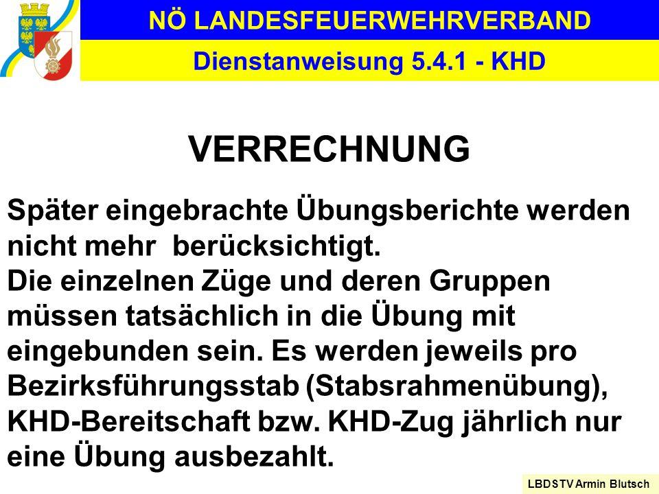 NÖ LANDESFEUERWEHRVERBAND LBDSTV Armin Blutsch Dienstanweisung 5.4.1 - KHD VERRECHNUNG Später eingebrachte Übungsberichte werden nicht mehr berücksich
