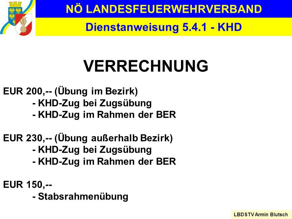 NÖ LANDESFEUERWEHRVERBAND LBDSTV Armin Blutsch Dienstanweisung 5.4.1 - KHD VERRECHNUNG EUR 200,-- (Übung im Bezirk) - KHD-Zug bei Zugsübung - KHD-Zug