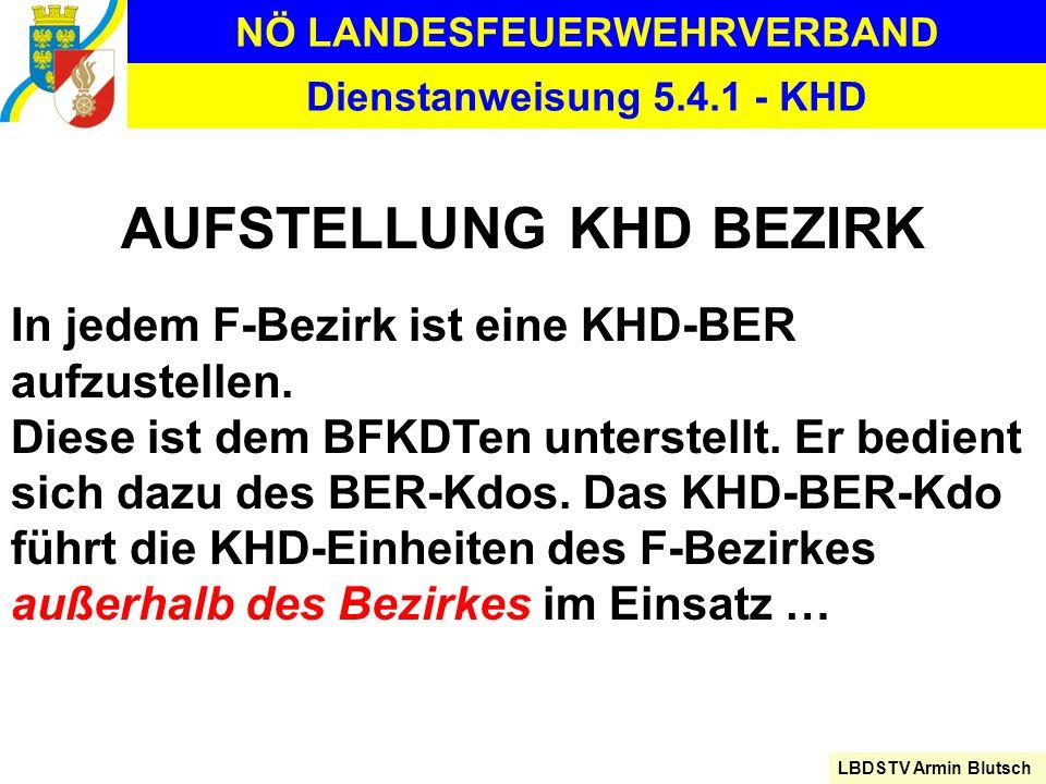 NÖ LANDESFEUERWEHRVERBAND LBDSTV Armin Blutsch Dienstanweisung 5.4.1 - KHD AUFSTELLUNG KHD BEZIRK In jedem F-Bezirk ist eine KHD-BER aufzustellen. Die