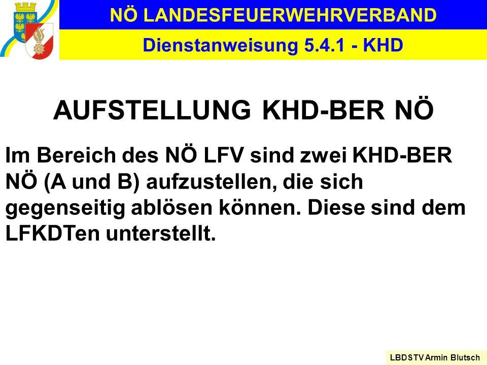 NÖ LANDESFEUERWEHRVERBAND LBDSTV Armin Blutsch Dienstanweisung 5.4.1 - KHD AUFSTELLUNG KHD-BER NÖ Im Bereich des NÖ LFV sind zwei KHD-BER NÖ (A und B)