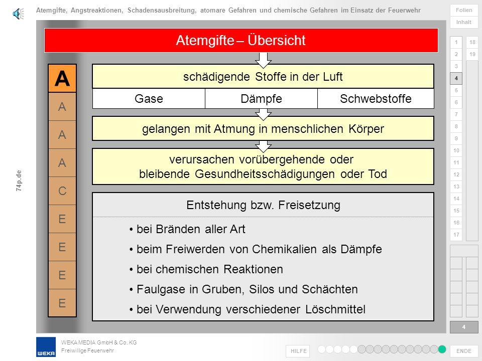 WEKA MEDIA GmbH & Co. KG Freiwillige Feuerwehr ENDE HILFE 1 2 3 4 5 6 Folien Inhalt 74p.de 7 8 9 10 11 12 13 14 15 16 17 18 19 ACE Gefahr durch: Gefah