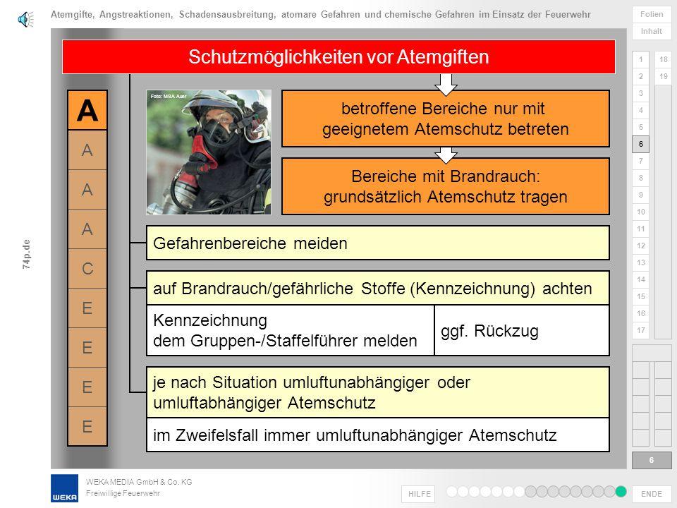 WEKA MEDIA GmbH & Co. KG Freiwillige Feuerwehr ENDE HILFE 1 2 3 4 5 6 Folien Inhalt 74p.de 7 8 9 10 11 12 13 14 15 16 17 18 19 Gefährlichkeit abhängig
