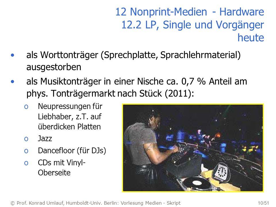© Prof. Konrad Umlauf, Humboldt-Univ. Berlin: Vorlesung Medien - Skript 10/51 12 Nonprint-Medien - Hardware 12.2 LP, Single und Vorgänger heute als Wo