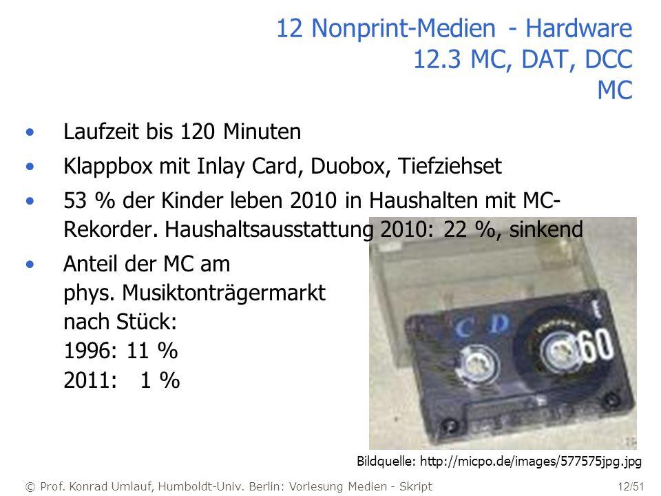 © Prof. Konrad Umlauf, Humboldt-Univ. Berlin: Vorlesung Medien - Skript 12/51 12 Nonprint-Medien - Hardware 12.3 MC, DAT, DCC MC Laufzeit bis 120 Minu