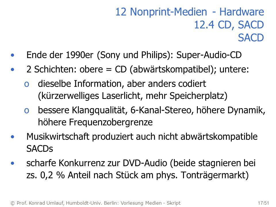 © Prof. Konrad Umlauf, Humboldt-Univ. Berlin: Vorlesung Medien - Skript 17/51 12 Nonprint-Medien - Hardware 12.4 CD, SACD SACD Ende der 1990er (Sony u