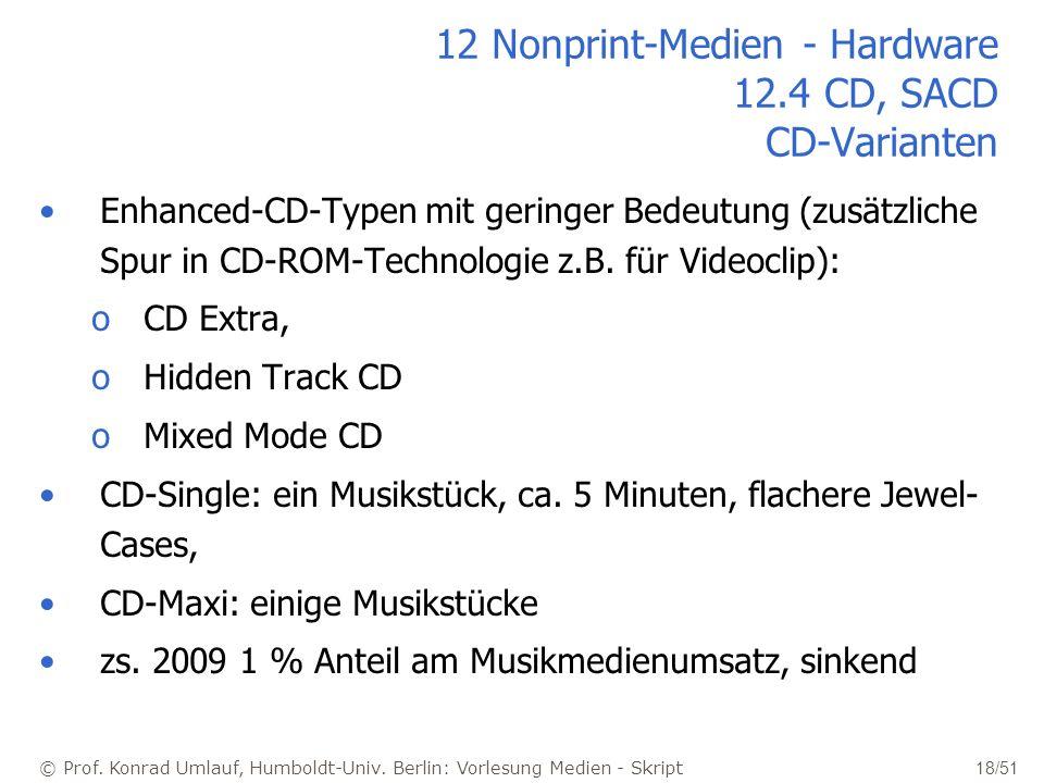 © Prof. Konrad Umlauf, Humboldt-Univ. Berlin: Vorlesung Medien - Skript 18/51 12 Nonprint-Medien - Hardware 12.4 CD, SACD CD-Varianten Enhanced-CD-Typ