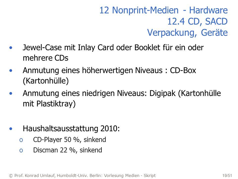 © Prof. Konrad Umlauf, Humboldt-Univ. Berlin: Vorlesung Medien - Skript 19/51 12 Nonprint-Medien - Hardware 12.4 CD, SACD Verpackung, Geräte Jewel-Cas