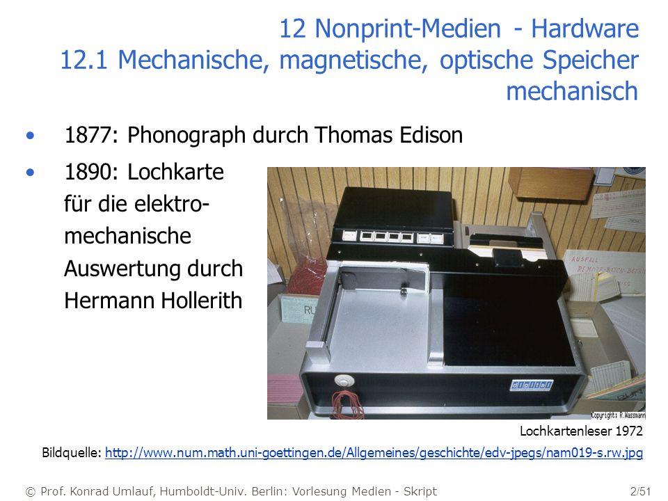 © Prof. Konrad Umlauf, Humboldt-Univ. Berlin: Vorlesung Medien - Skript 2/51 12 Nonprint-Medien - Hardware 12.1 Mechanische, magnetische, optische Spe