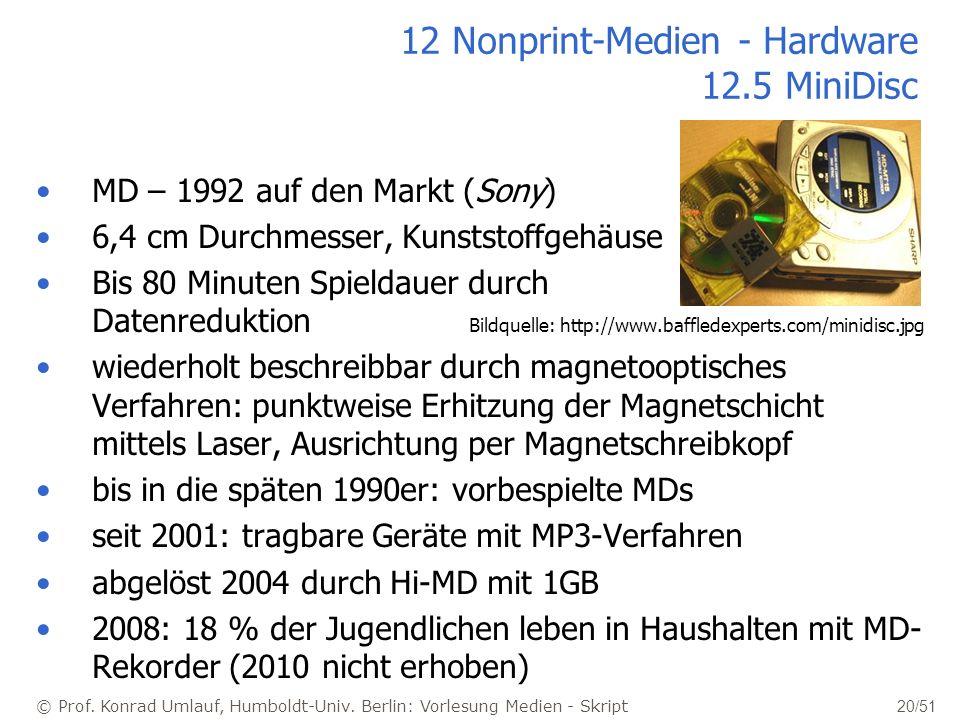 © Prof. Konrad Umlauf, Humboldt-Univ. Berlin: Vorlesung Medien - Skript 20/51 12 Nonprint-Medien - Hardware 12.5 MiniDisc MD – 1992 auf den Markt (Son