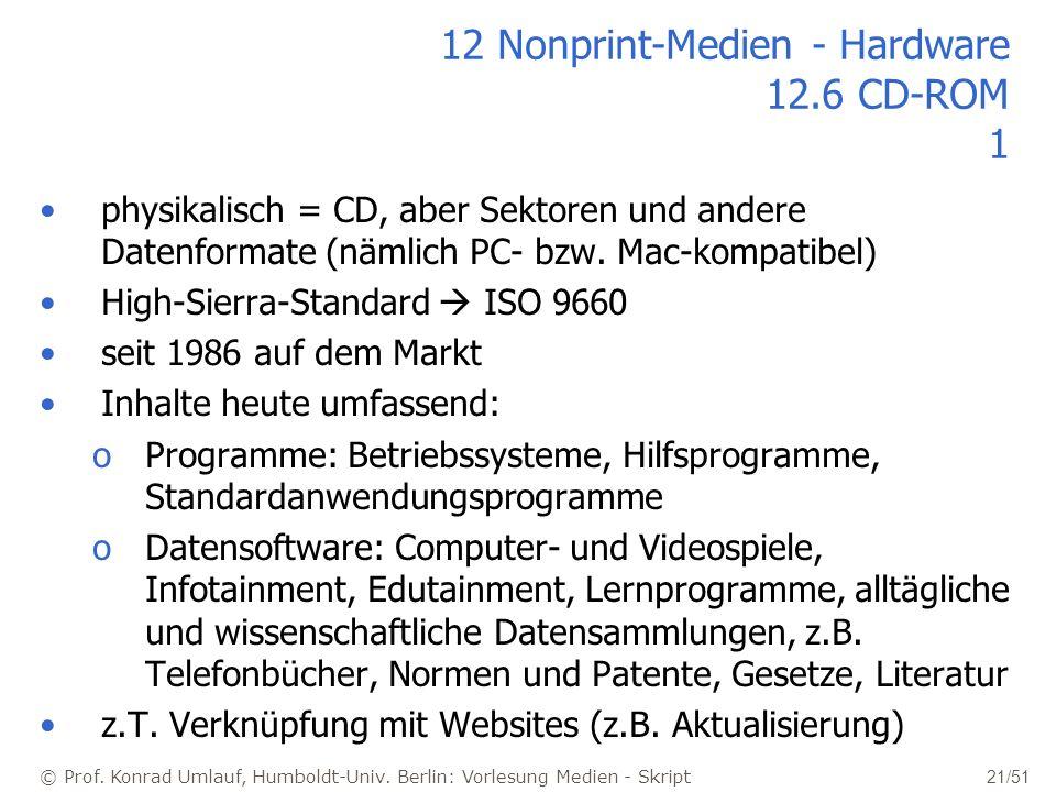 © Prof. Konrad Umlauf, Humboldt-Univ. Berlin: Vorlesung Medien - Skript 21/51 12 Nonprint-Medien - Hardware 12.6 CD-ROM 1 physikalisch = CD, aber Sekt